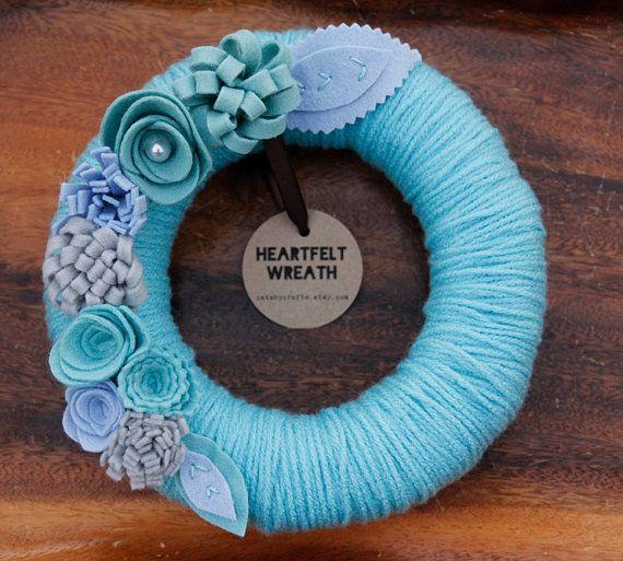 A beautiful wreath that will last you well-past Christmas :) Yarn Wrapped Wreath Aqua Yarn Aqua Pale Blue Grey by CatshyCrafts, $42.00