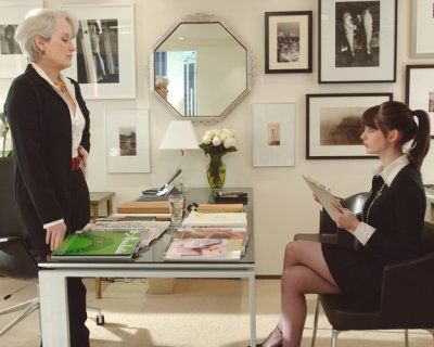 Best Office decor - Miranda Priestly's office in The Devil Wears Prada was chosen by Elle Decor as one of their top ten favorite movie set designs from Cathy Whitlock's new book Designs on Film