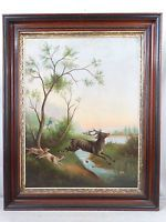 LG Antique 19thC VICTORIAN Era PRIMITIVE HUNT SCENE Folk Art DOG & STAG PAINTING