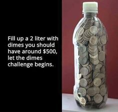 Fill up 2 Liter Bottle With Dimes