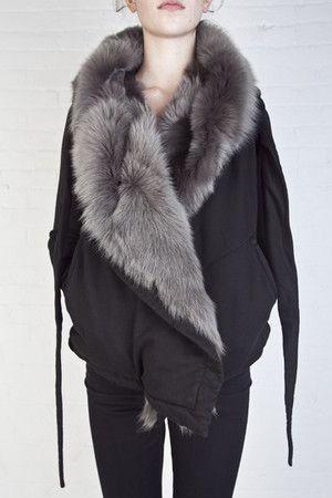 Rick Owens fur hoodie - DRKSHDW