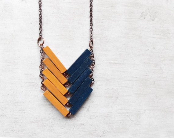 Wood Chevron Necklace // STARRY NIGHT // Minimal Jewelry // Yellow // Blue // Hand-Painted Necklace // Modern Necklaces // Chevron Necklace