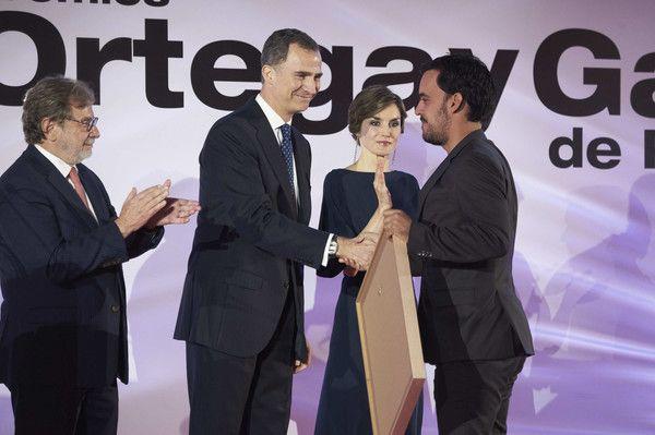 (L-R) President of PRISA group Juan Luis Cebrian, King Felipe VI of Spain and…