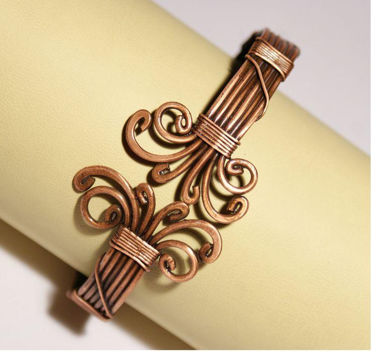 Mens Copper Bracelet Mens Cuff Bracelet Wire Wrapped