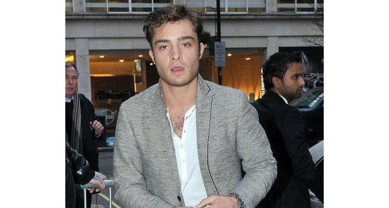 We love Ed Westwick's amazing style and he looks amazing in a casual tee paired with a smart grey blazer.