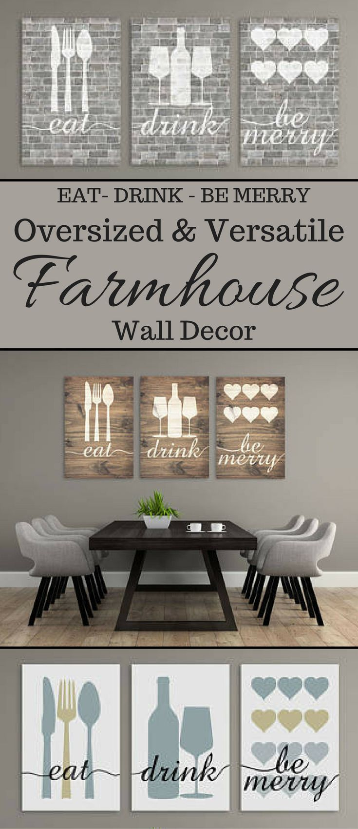 Love this cute oversized farmhouse wall decor. Comes in 3 separate pieces i think. Can be rustic, neutral or modern. Would love them all for my dining room. #farmhouse #walldecor #oversized #afflink