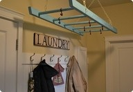 ladder clothes hangerPots Racks, Dry Racks, Clothing Line, Old Ladders, Laundry Rooms, Room Ideas, Clothing Hangers, Laundryroom, Drying Racks