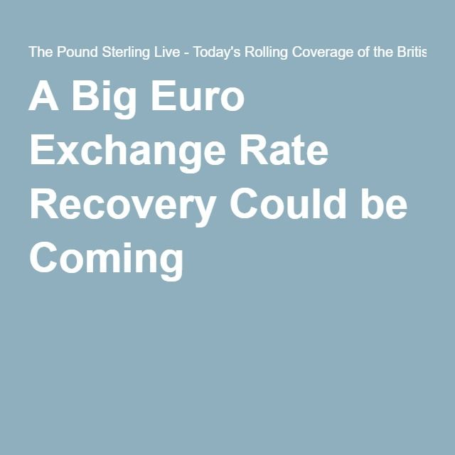 A Big Euro Exchange Rate Recovery Could be Coming