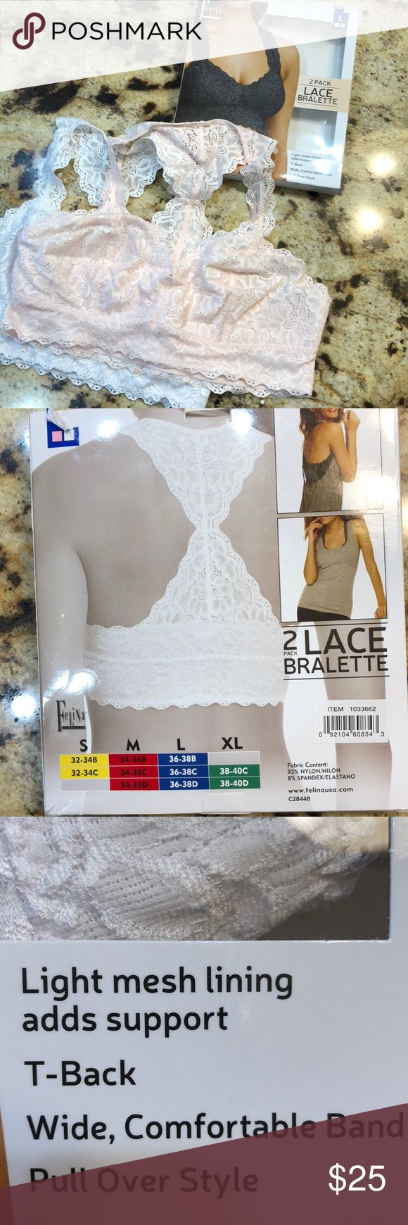 2 lace racerback bralettes like new White and blush pink in box. Size large please see bra size chart. Bundle and save on shipping as I discount bundles felina Intimates & Sleepwear Bras