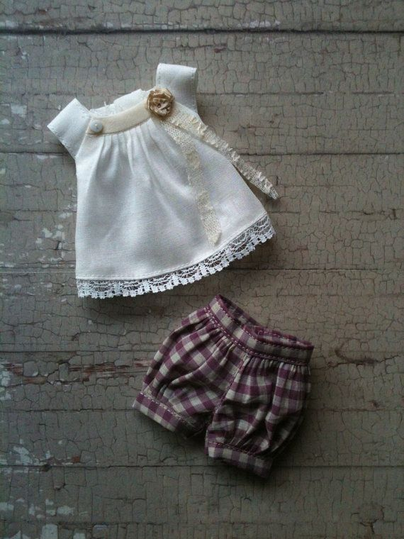 Puffball shorts set for Blythe - Lavender check