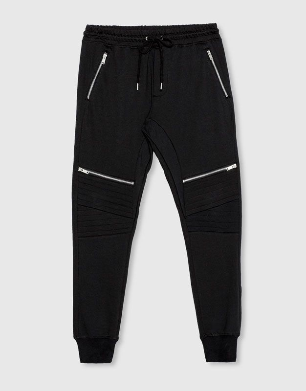 Pull&Bear - hombre - novedades - ropa - pantalón jogging cremalleras - negro - 09683544-I2016