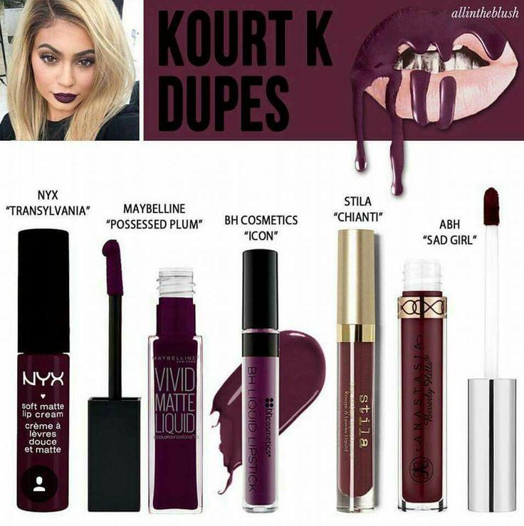 Kourt K Dupes | NYX | Maybelline | BH Cosmetics | Stila | ABH | Lipstick | Make Up