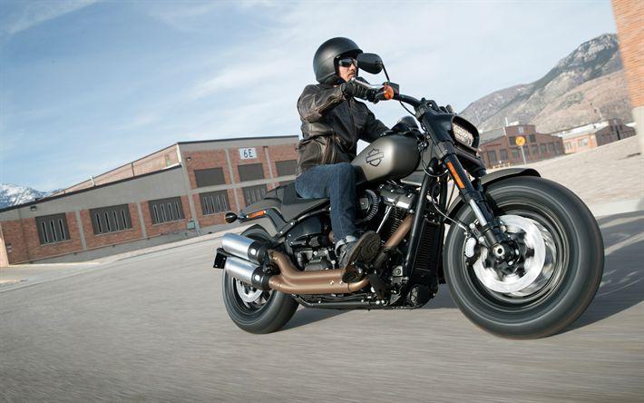 Hämta bilder Harley-Davidson fat Bob 114, 4k, biker, 2018 cyklar, rider, amerikanska motorcyklar, Harley-Davidson