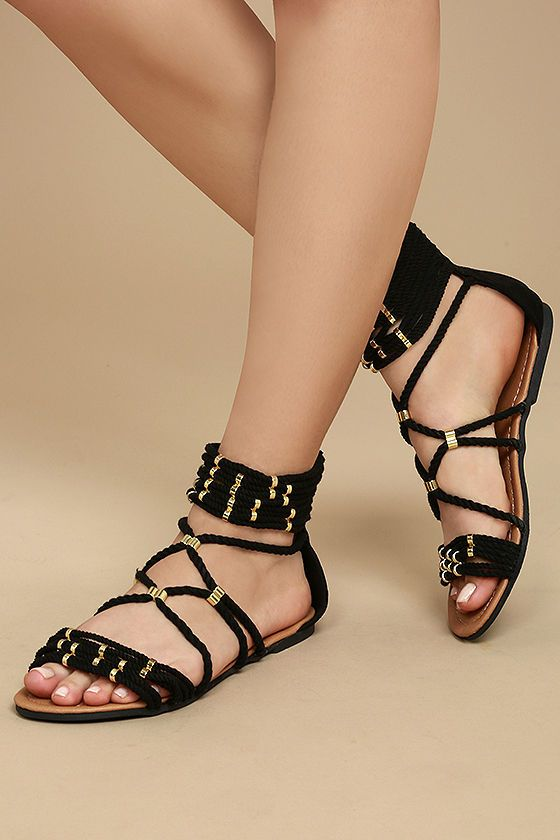 The Pria Black Gladiator Sandals are this season's must-have shoe! Braided  rope,