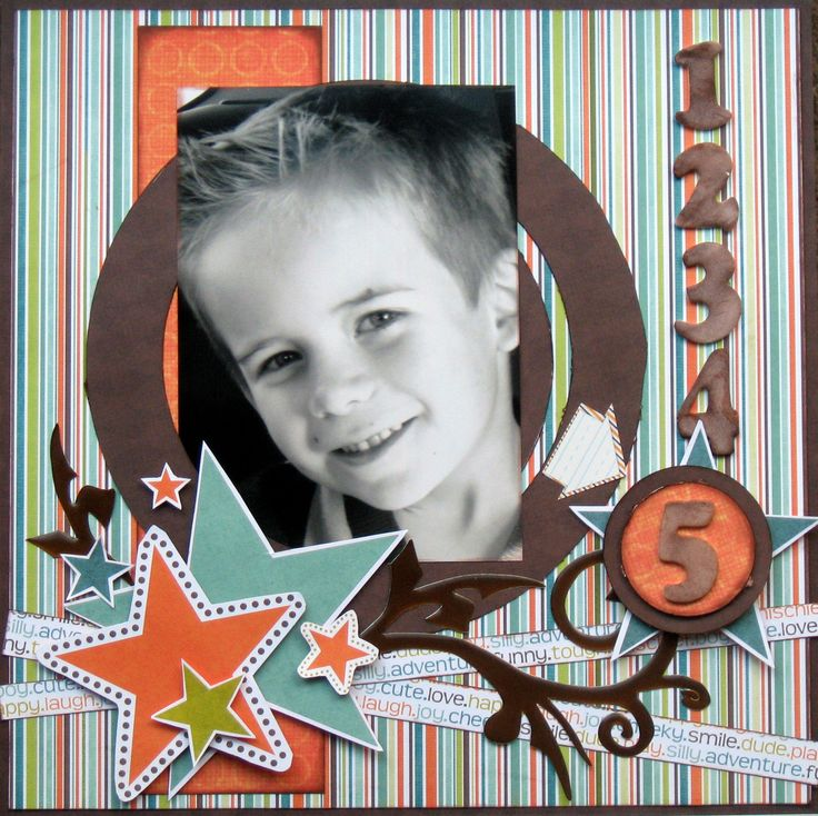 Super cute boy birthday layout. Good thing I have some cute boy grandsons!
