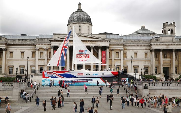 The British entry for the Clipper Round the World Yacht Race is displayed in Trafalgar Square in London, England. The 70ft long Clipper named 'Great Britain' will compete in the world's longest ocean race which begins in September from St Katharine Docks in London.Picture: Dan Kitwood/Getty Images
