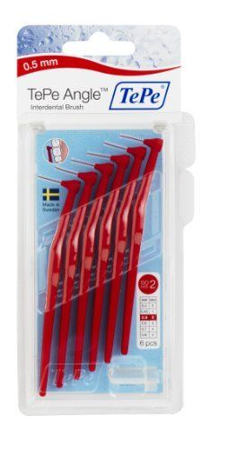 TePe Interdental Brush Angle - Red 0.5mm:   TePe Angle brush is angled for excellent access to all interdental spaces. The slender, angled brush head facilitates use between the bak teeth and from the inside. The long, flat handle provides an ergonomic grip and makes it easy to manage. Available in six sizes.