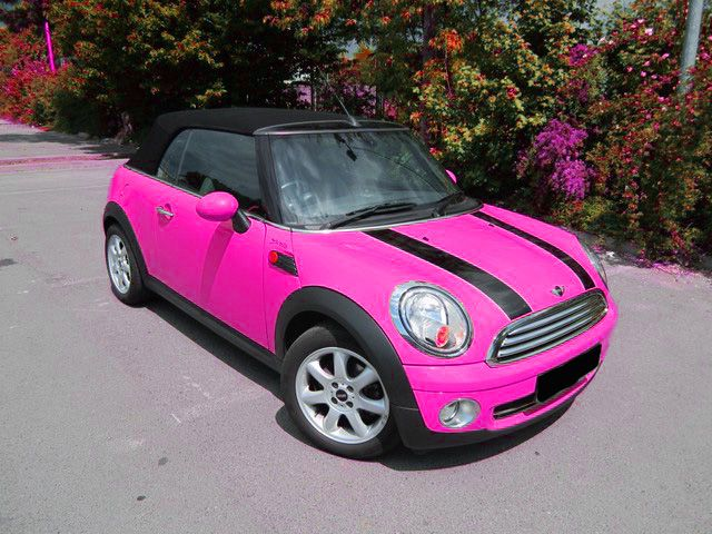 pink mini cooper convertible. WITH BLACK RIMS! black on black!