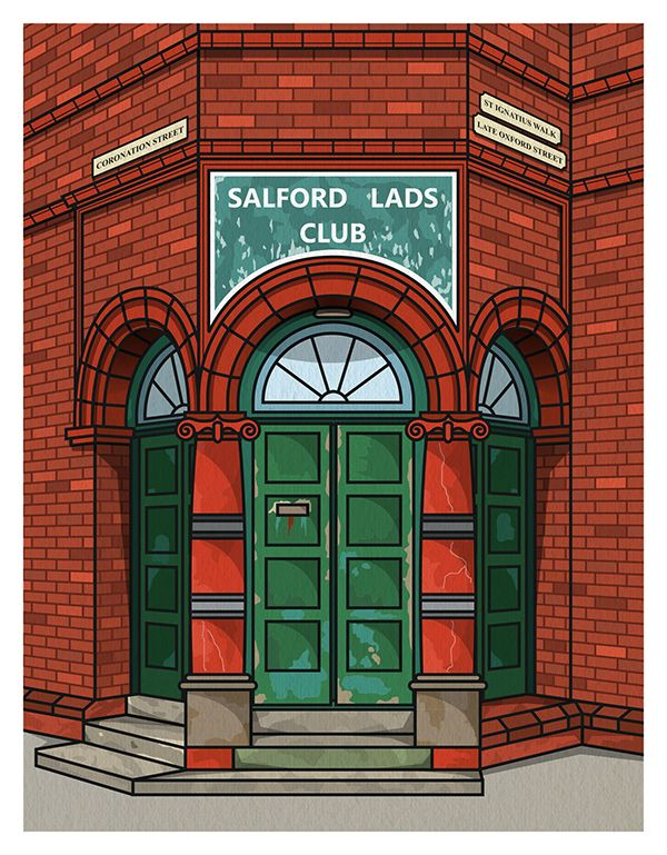 Freelance graphic designer and illustrator Matthew David Brown and his Salford Lads Club Illustration.
