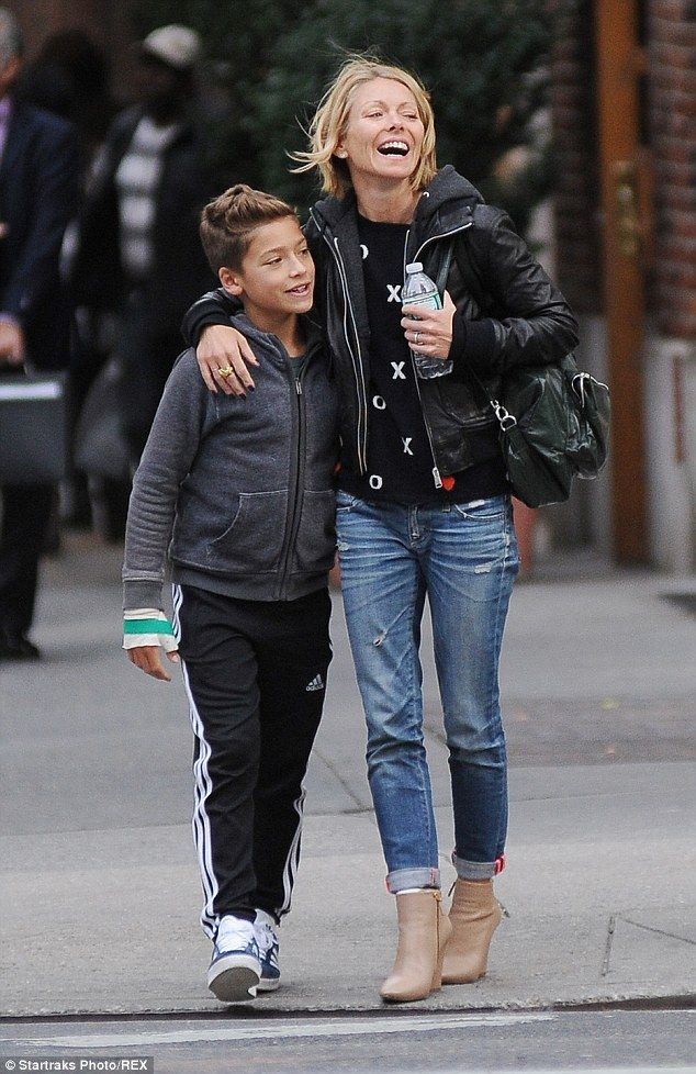All smiles: Kelly Ripa and her  son Joaquin were seen out in New York City having a great ...