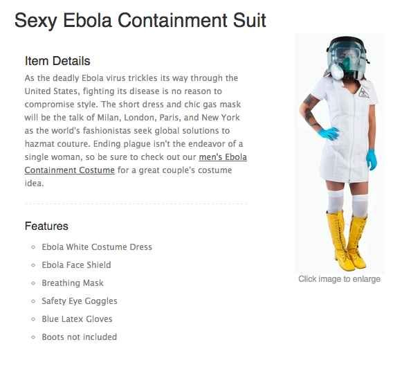 """...The company that thought it was a good idea to market a """"sexy Ebola nurse"""" costume for Halloween...."""