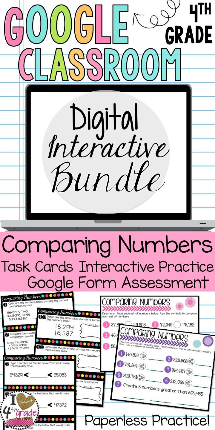 4th grade CCSS 4.NBT.2 Comparing Multi Digit Numbers. Paperless practice for 1:1 classrooms, blended classrooms, Google Classrooms, and Classrooms with a variety of devices.  Task Cards, Google Interactive Practice using Google Slides, and a Google Form.  Save time with Google Classroom by not having to grade, sort, or make copies.