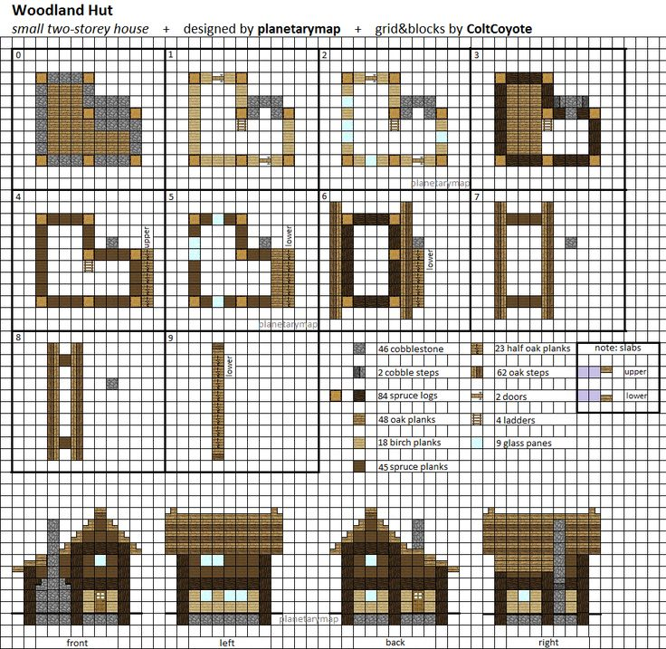 woodland hut small minecraft house blueprint by planetarymap - Blueprints For Houses
