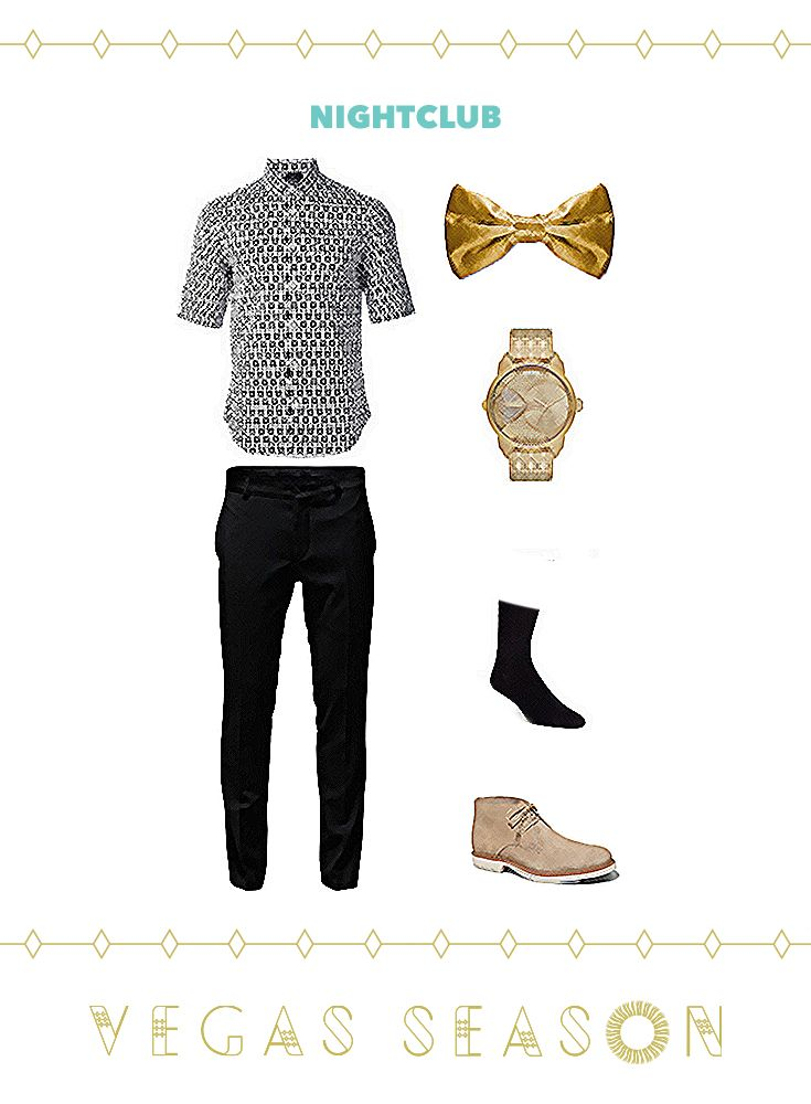 A flashy bow tie dresses up a casual guy's outfit for the club #VegasSeason #OOTD