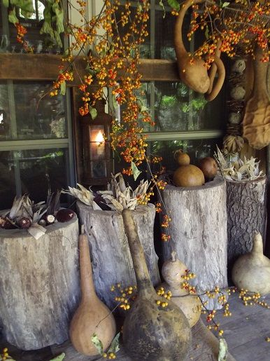 Decorating with bittersweet & gourds