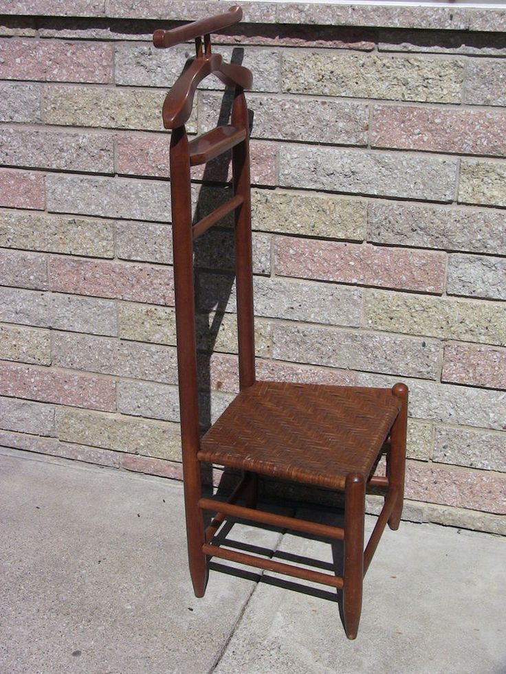 Vintage MidCentury Primitive Style Clothes Valet Butler Suit Rack Dressing Chair