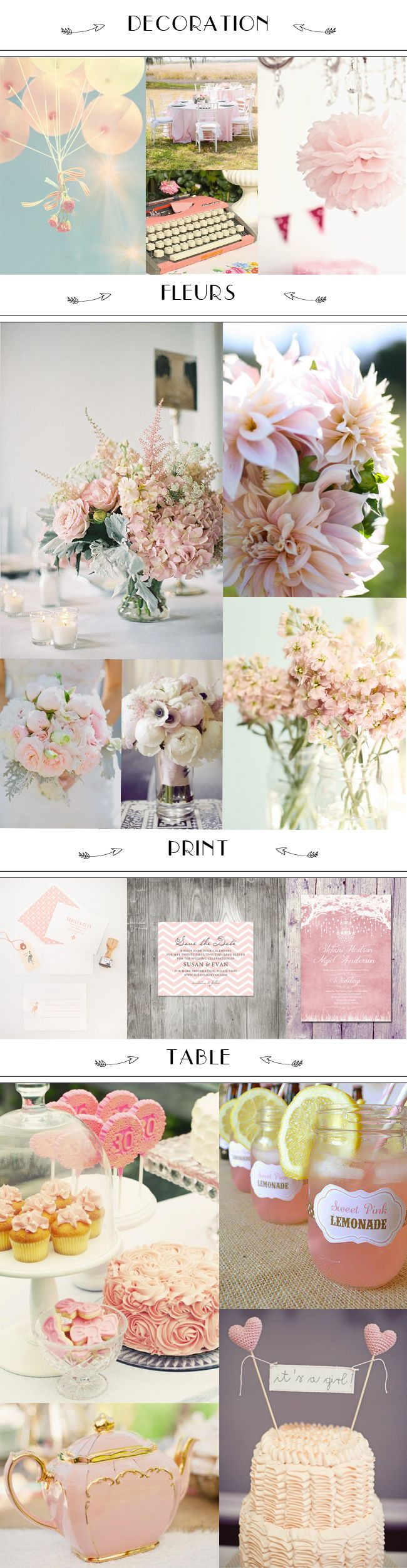 Inspiration deco faire part table fleur pour une pink party.