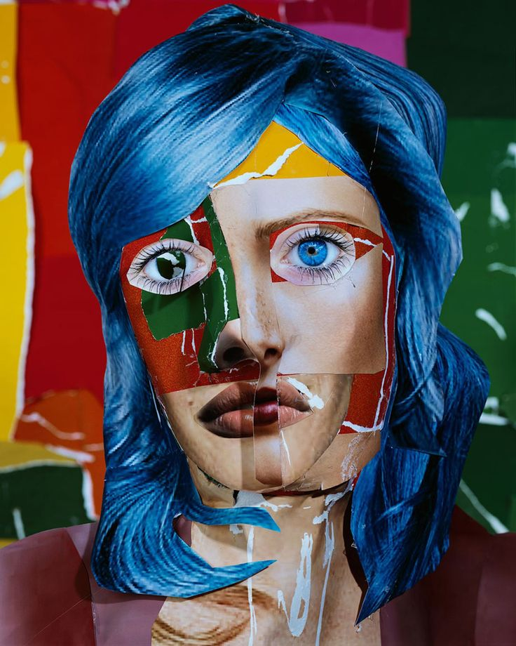 "Daniel Gordon, ""The Green Line"" series. Portrait with Blue Hair, 2013  Photography inspired by Matisse."