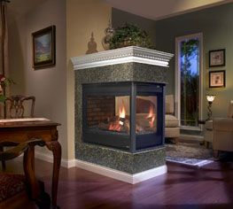 Peninsula fireplace could cover two rooms instead of just one!