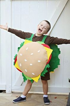 Tutorial for cheeseburger costume. With a few adjustments, this will accommodate my son's request for a cheese spider costume.