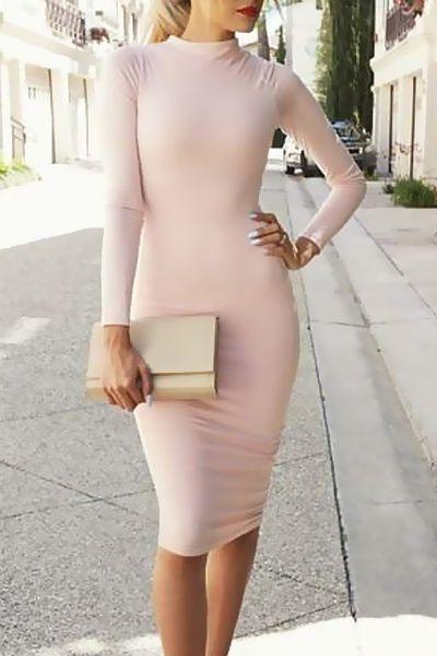 Pink Long Sleeve Bodycon Dress PINK: Long Sleeve Dresses | ZAFUL