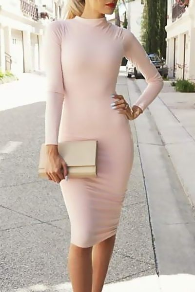 Pink Long Sleeve Bodycon Dress PINK: Long Sleeve Dresses | ZAFUL