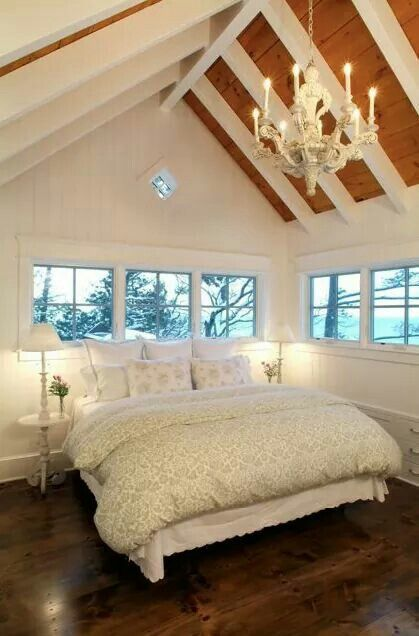 I love this. It would make a gorgeous loft master bedroom. A-line roof...with windows (reminds me of a widows walk)