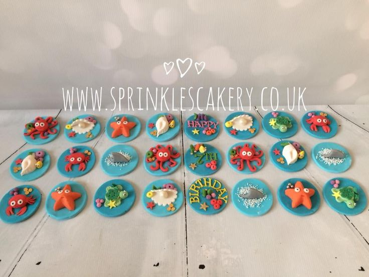 Here is the full set of handcrafted fondant sealife cupcake toppers for a 7yr olds birthday party.