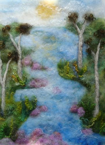 a knithacked river runs through it.Genius Artists, Felt Landscapes, Artists Artists, Knithack Rivers, Felt Rivers, Felt Painting, Fiber Art, Felt Art, Needle Felt