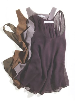 Closet basics: Flowy tanks in solid colors. Great underneath blazers!
