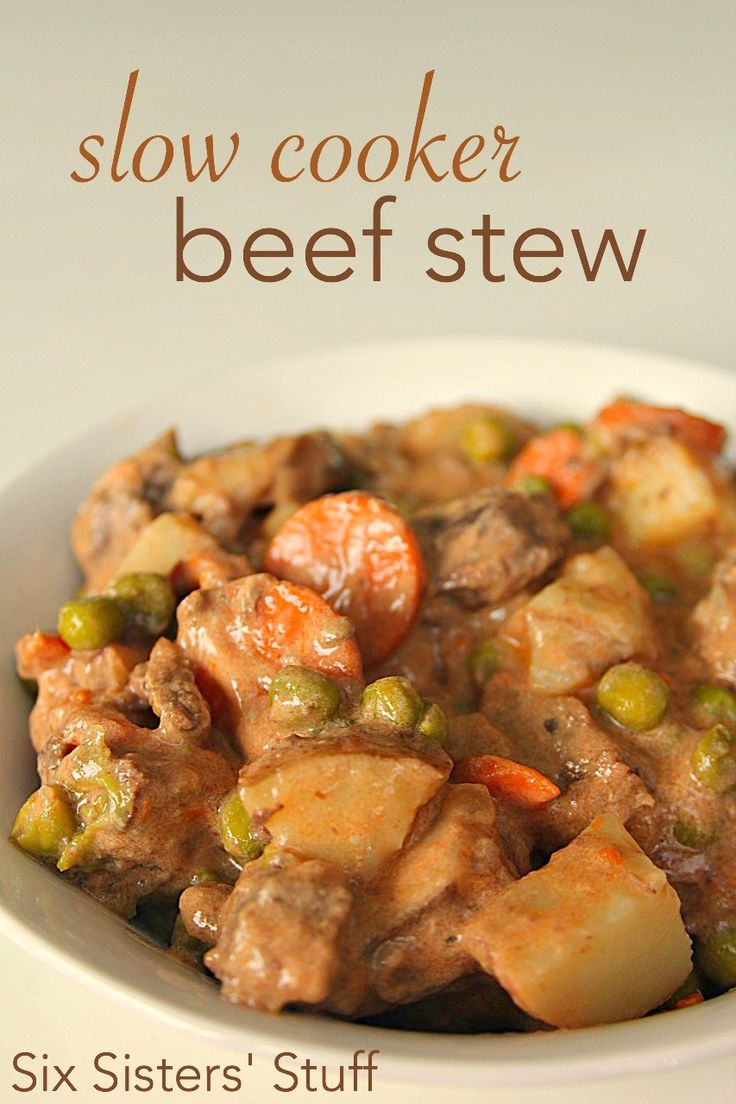 Slow Cooker Beef Stew - One of the easiest recipes I have ever made - and it's super hearty!  Made with dry onion soup mix, cream of mushroom soup, tomato sauce