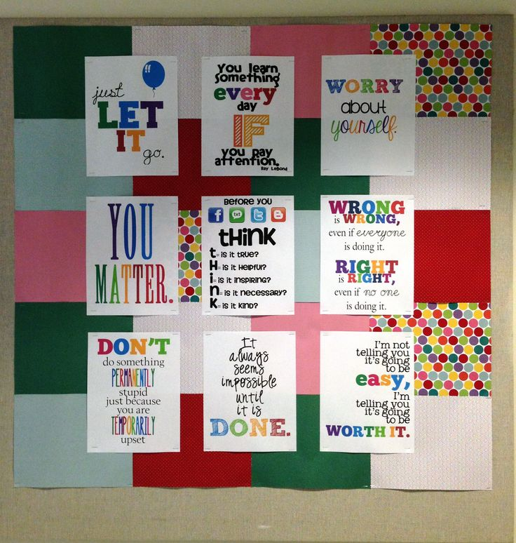 High school guidance office easy bulletin board idea for Inspirational quotes for office notice board