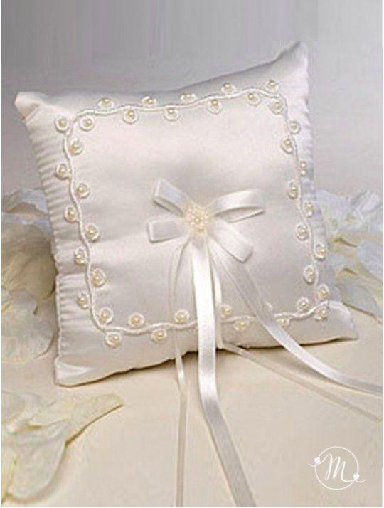 Cuscino fedi - perline ricamate. Questo cuscino fedi quadrato, di colore bianco…