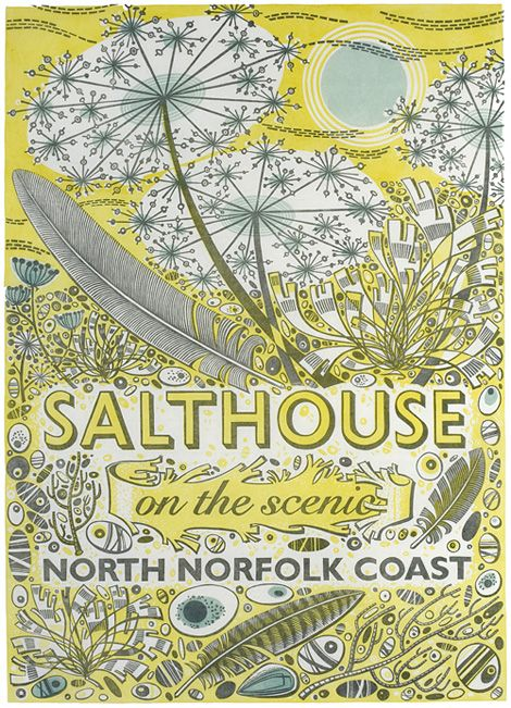 Are those deviled eggs at the bottom? With blue yolks?  Viakickcanandconkers:    Salthouse linocut print by Angie Lewin