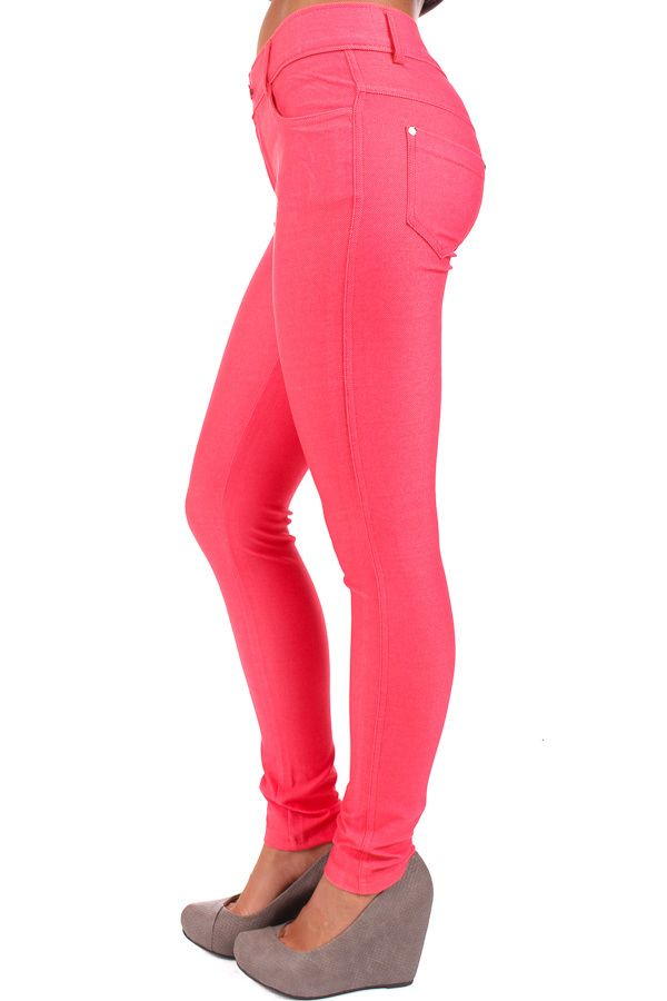 Lime Lush Boutique - Coral Pink Jeggings, $26.99 (http://www. - 77 Best Swanky Jeans Collection Images On Pinterest Skinny, Jean