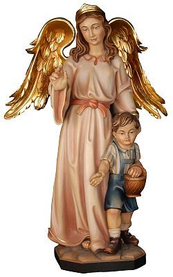 Angels - Guardian Angel with boy, religious gift, religious present, special gift for a newborn or for a boy, angel of protection, woodcarving from Val Gardena in Italy, religious statue/ figurine