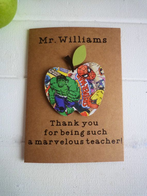 personalised teacher card thank you marvelous by OnceUponACanvasx