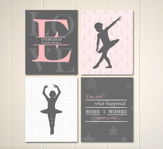 Baby girl nursery, ballerina nursery art, ballerina wall art, grey pink nursery by PicabooArtStudio, $28.00