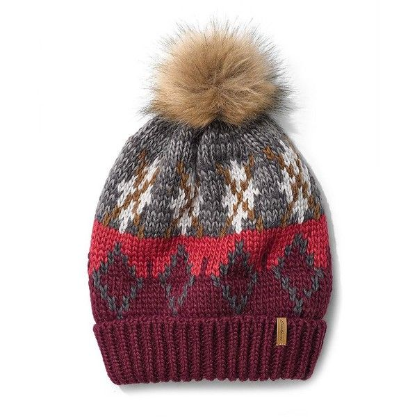 Eddie Bauer Women's Cabin Faux Fur Pom-Pom Beanie ($21) ❤ liked on Polyvore featuring accessories, hats, dusty indigo, colorful beanie hats, faux fur pom pom hat, pom pom beanie, faux fur hat and faux fur beanie hat