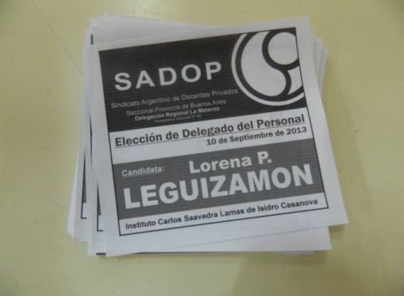 BOLETA DE LA ELECCIÓN DE LA CRA. LORENA LEGUIZAMÓN